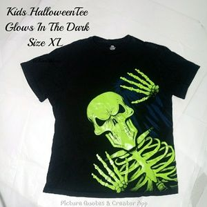 🎈4/$20🎈Halloween Skeleton Tee Glows In The Dark